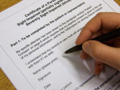 Sight loss registration document