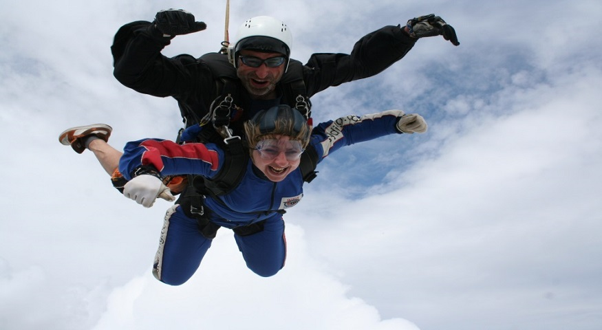 Vanessa taking part in a sky dive