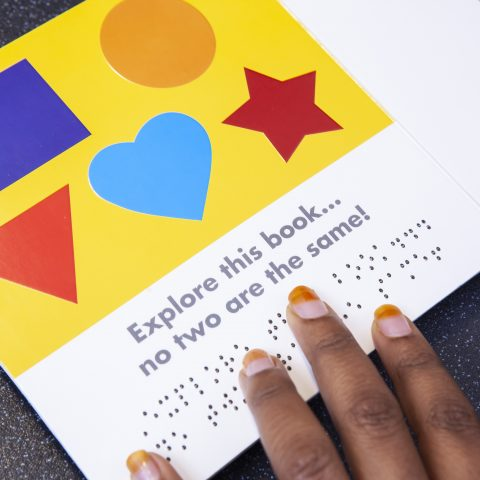 A children's picture book with text in print and Braille