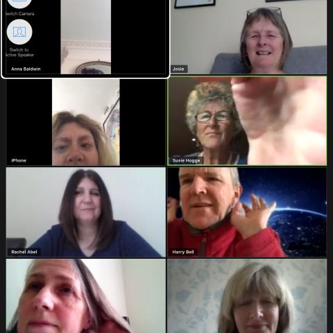 Members of MySight York's Socialeyes group meeting via Zoom