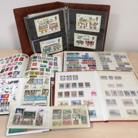 A collection of books of stamps donated to MySight York